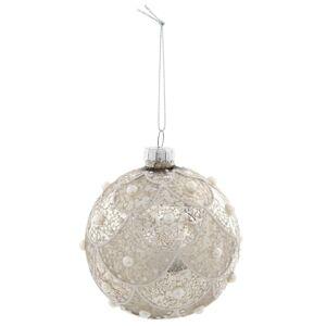 Stříbrná vánoční koule s perličkami - Ø 8 cm Clayre & Eef