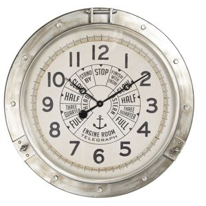 Stříbrné kovové hodiny Telegraph - Ø 72*7 cm Clayre & Eef