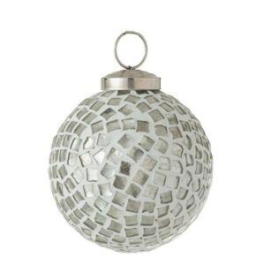 Stříbrno - bílá skleněná ozdoba koule Mosaic - Ø 7cm