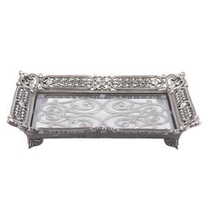 Stříbrný antik kovový podnos s ornamenty a kamínky  - 19*14*4 cm Clayre & Eef