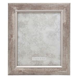 Stříbrný fotorámeček s patinou v dřevěném motivu - 28*2*33/ 20*25 cm Clayre & Eef