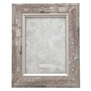 Stříbrný fotorámeček s patinou v dřevěném motivu - 21*2*26/ 13*18 cm Clayre & Eef