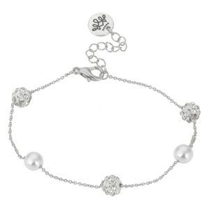 Stříbrný náramek s perlami - Ø 6-7cm Clayre & Eef
