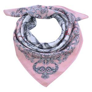 Světle růžový šátek s ornamenty - 70*70 cm