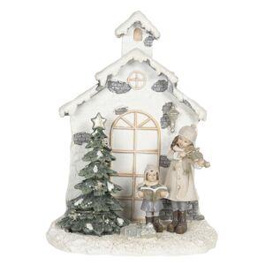 Svítící vánoční dekorace zpívajících dětí u kapličky - 16*9*21 cm