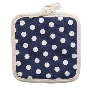 Tmavě modrá bavlněná podložka pod hrnec s puntíky -  16*16 cm Clayre & Eef
