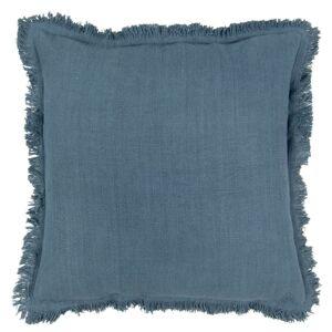 Tmavě modrý bavlněný polštář s trásněmi - 45*45 cm Clayre & Eef