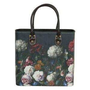 Tmavě tyrkysová květovaná taška Colette - 28*14*28/39 cm Clayre & Eef
