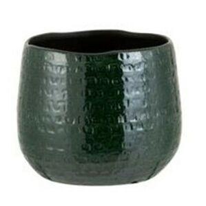 Tmavě zelený vzorovaný obal na květináč Seraphine M - 18*18*18,5 cm