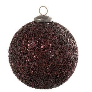 Vánoční bordó skleněná ozdoba s glitry - Ø 12cm