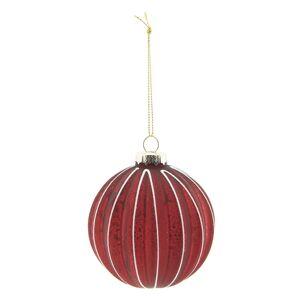 Vánoční červená skleněná ozdoba - set 4ks - Ø 8 cm