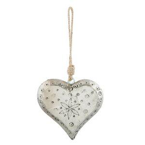 Vánoční ozdoba stříbrné srdce - 12*3*12 cm Clayre & Eef