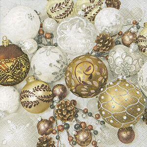 Vánoční papírové ubrousky  Shiny baubies - 33*33 cm (20) PPD