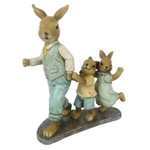 Velikonoční dekorace králičí rodinky na podstavci - 13*6*15 cm