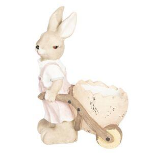Velikonoční dekorace Králičí slečna s vozíkem a skořápkou - 34*22*49 cm
