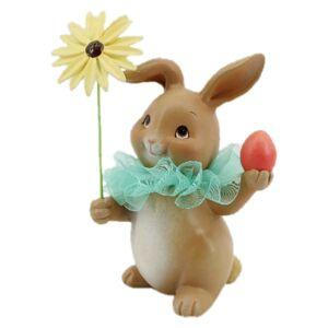 Velikonoční dekorace králíka s květinou a vajíčkem - 11*9*15 cm