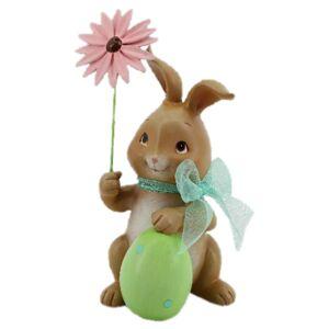 Velikonoční dekorace králíka s růžovou květinou - 9*9*17 cm