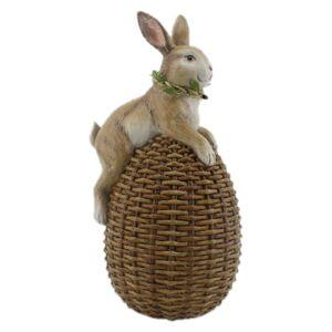 Velikonoční dekorace králíka sedícího na vajíčku - 14*12*26 cm