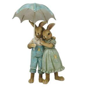 Velikonoční dekorace králíků pod deštníkem - 8*4*14 cm