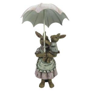 Velikonoční dekorace králíků pod deštníkem - 8*5*12 cm