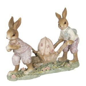 Velikonoční dekorace králíků s kolečkem - 16*5*12 cm
