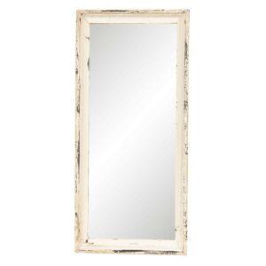 Vintage nástěnné zrcadlo v bílém rámu s patinou - 24*4*57 cm