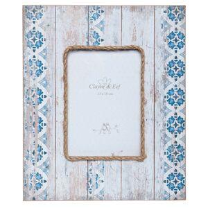 Velký fotorámeček s modro-bílým vzorem a patinou - 25*2*30 cm / 13*18 cm Clayre & Eef