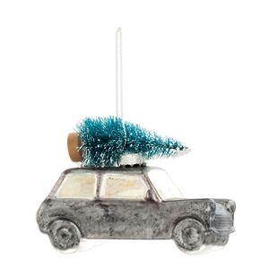 Vintage vánoční ozdoba Auto s vánočním stromem - 10*5*7 cm