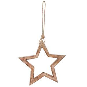 Závěsná dřevěná dekorační hvězda - 27*2*27 cm