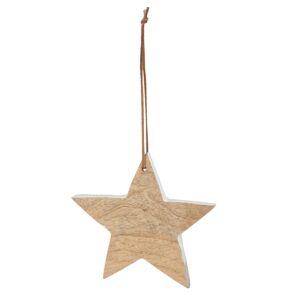 Závěsná dřevěná hvězdička s bílým okrajem - 16*2*15 cm Clayre & Eef