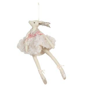 Závěsná letící dáma daň v peříčkových šatech Lotte - 18*29 cm