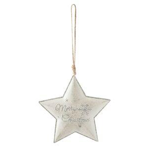 Závěsná stříbrná hvězdička Merry Christmas - 13*2*12 cm Clayre & Eef