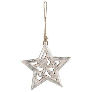 Závěsná vánoční dřevěná hvězda s patinou - 15*2*14 cm Clayre & Eef