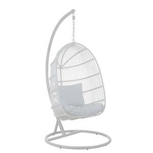 Závěsné bílé ratanové křeslo Oval -119*105*193 cm J-Line