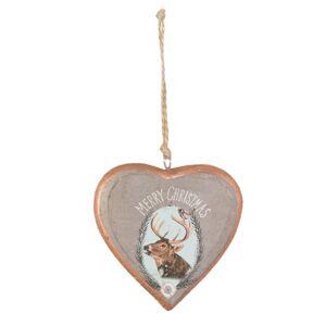 Závěsné dřevěné srdce Merry Christmas - 9*1*9 cm