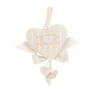 Závěsné látkové béžové srdce   - 20 cm Clayre & Eef