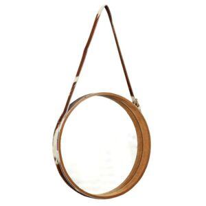 Závěsné zrcadlo s kravským koženým popruhem Georgette - Ø 40*5cm