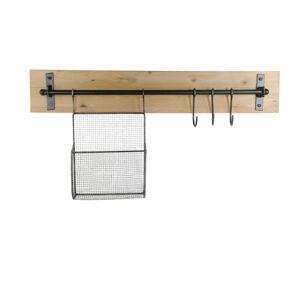 Závěsný věšák s košíkem a háčky - 83*13*42 cm Clayre & Eef