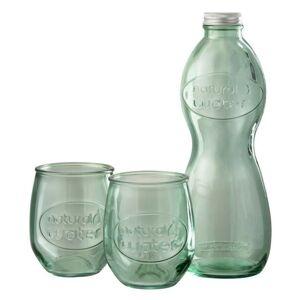 Zelená skleněná láhev a 2skleničky Natural - Ø 10*26cm
