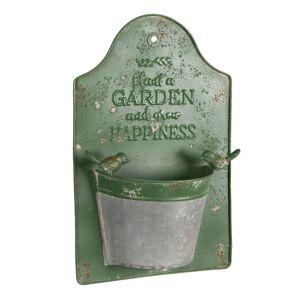 Zelený plechový nástěnný květináč Garden - 23*9*36 cm Clayre & Eef