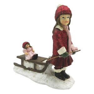 Zimní dekorace děvče se sáňkami - 11*4*11 cm