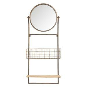 Zlaté retro zrcadlo s policí a košem - 42*13*100 cm