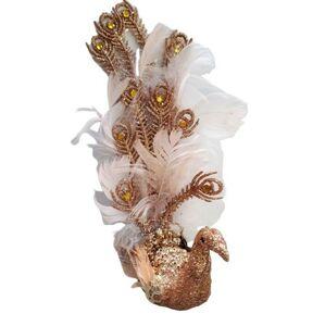Zlato-růžová třpytivá ozdoba páv s peříčky  - 8*20 cm  Colmore by Diga