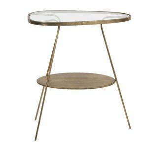 Zlatý kovový odkládací stolek se skleněnou deskou Rébecca - 61*37*70 cm