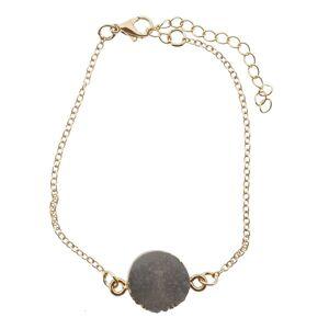 Zlatý náramek se šedým kamínkem - Ø 5-7 cm