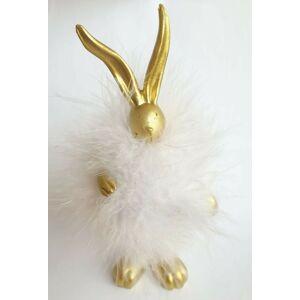 Zlatý zajíček s peříčky - 17cm Clayre & Eef
